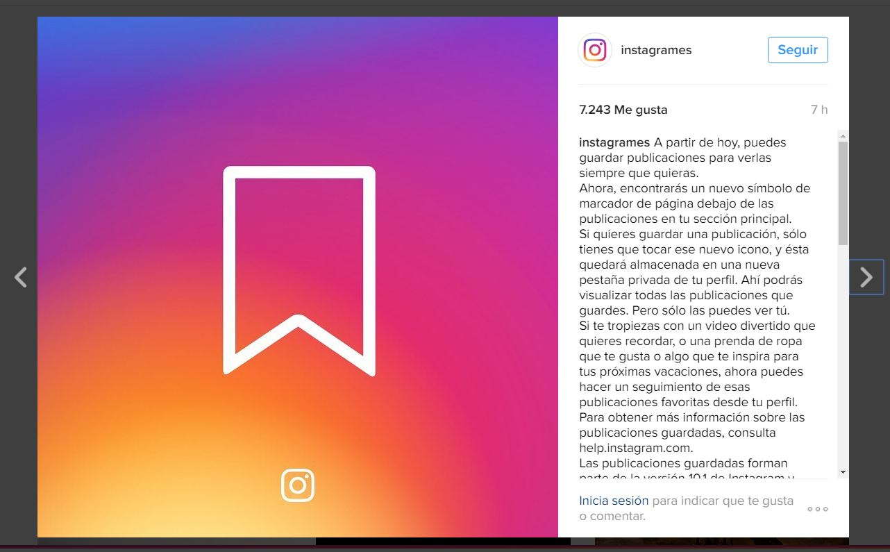 Post original donde Instagram anuncia la posibilidad de guardar.